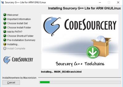 Laufende Installation des Sourcery Installationsprogramms.