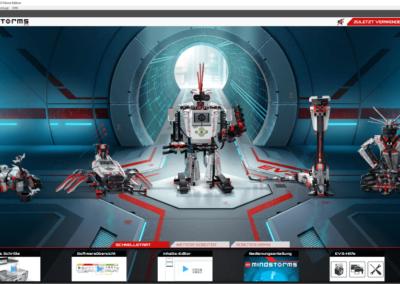 Lobby der Windows-Anwendung zum LEGO Mindstorms EV3
