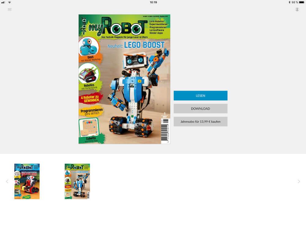 Die Titelseite der myRobot in der online-Ansicht