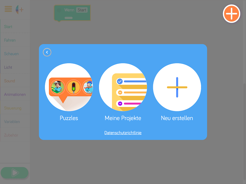 Startbildschirm der Blockly-App
