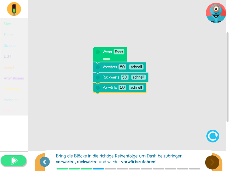 Programmieren mit der Blockly-App