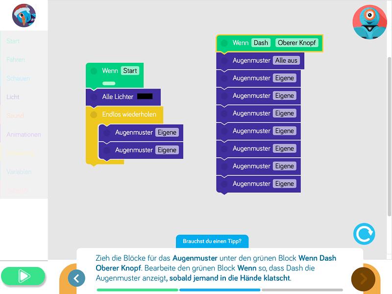 Ein erweitertes Programm in der Blockly-App