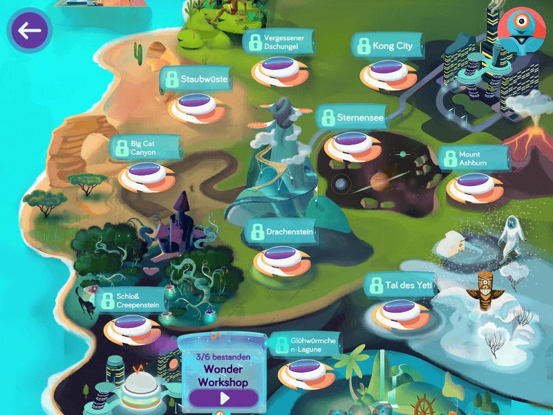 Übersicht der Roboter-Saga-Missionen in der Wonder-App