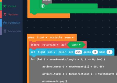 So sieht die Programmierung im Menüpunkt Code aus.
