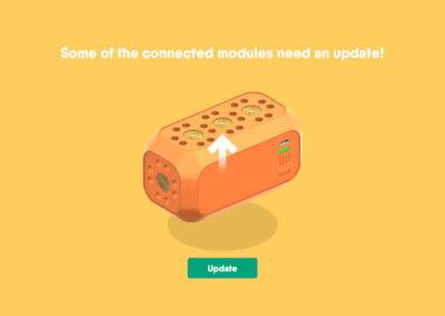Meldung, dass verbundene Bauteile ein Firmware-Update benötigen