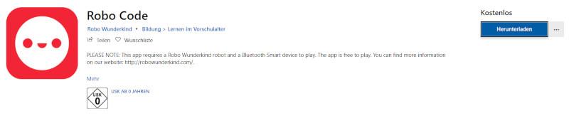"""Die App """"Robo Code"""" im Microsoft Store"""