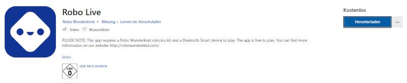"Die App ""Robo Live"" im Microsoft Store"