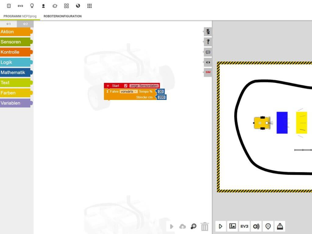 Screenshot aus dem Open Roberta® Lab